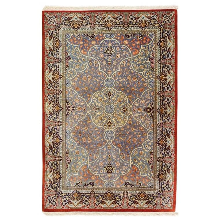Persian Qum Pure Silk Rug For Sale