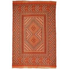 Vintage Moroccan Embroided Berber Kilim Rug