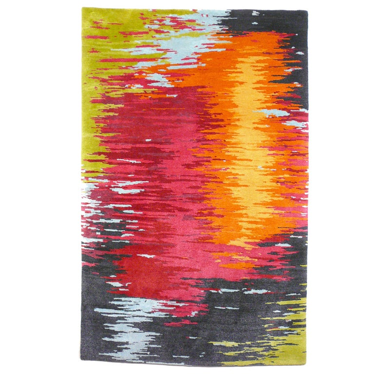 Nepal Tibet Modernist Rug Wool and Silk 21 Century Contemporary Design For Sale
