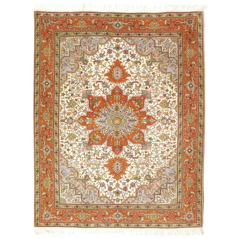 Tabriz Fine Rug with Kurkwool and Silk
