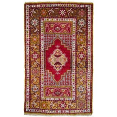 Semi Antique Turkish Kirsehir Rug red and green