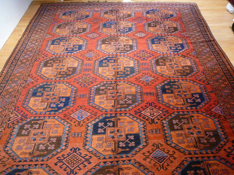 Beautiful antique tribal Turkmen carpet in great condition. These carpets are named