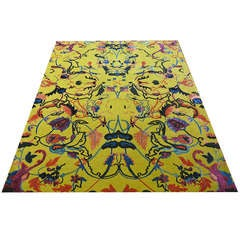 Tibetan Wool and Silk Rug with Antique Agra Design