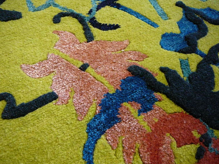 Nepalese Tibetan Wool and Silk Rug Custom made up Green Lilac, Blue  For Sale