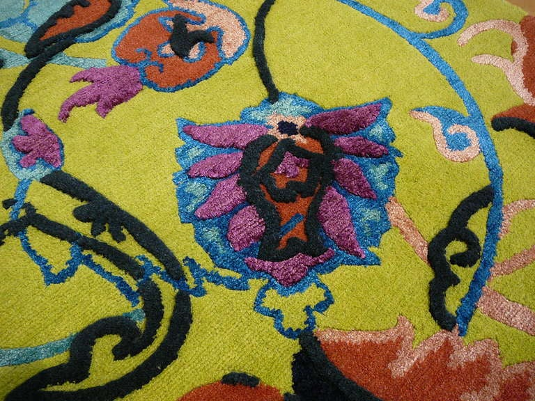 Agra Tibetan Wool and Silk Rug Custom made up Green Lilac, Blue  For Sale
