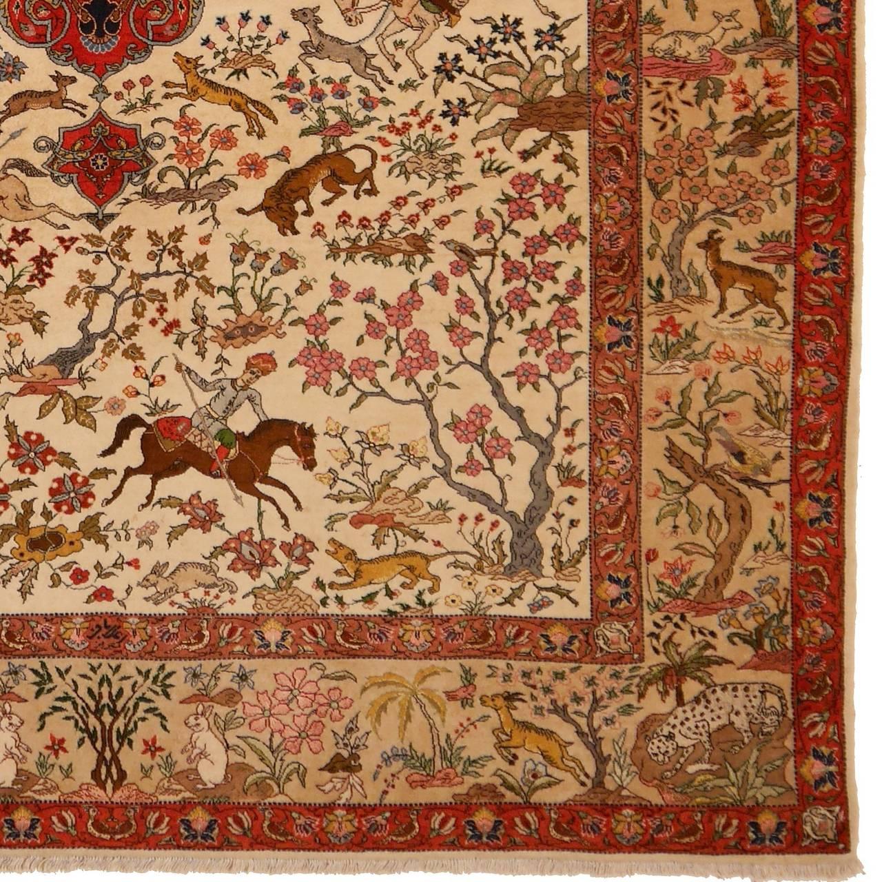 Antique Tabriz Hunting Rug Signed By Master Alabaf At 1stdibs