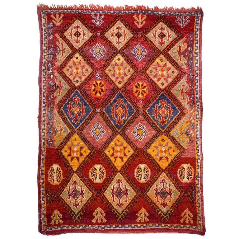 Vintage Berber Boujad Moroccan Rug At 1stdibs