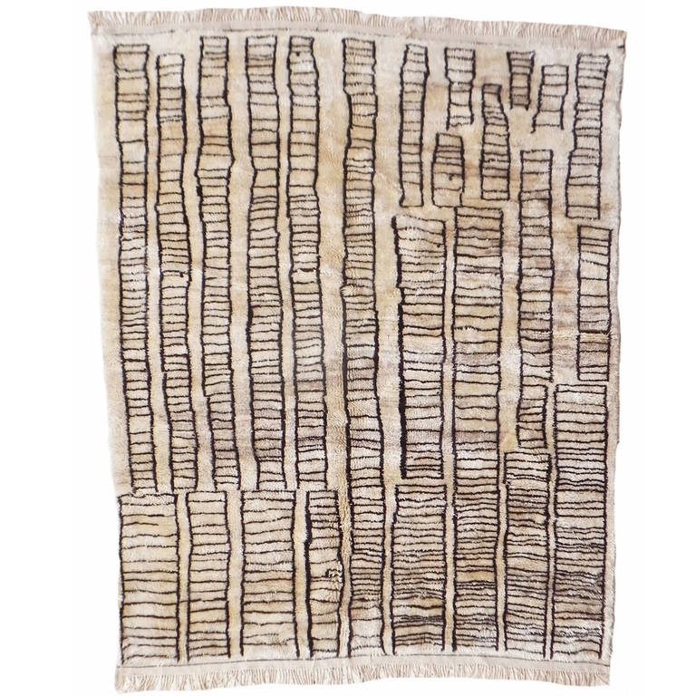 "Beni Ourain Vintage Rug in ""Manhattan Design"" For Sale"