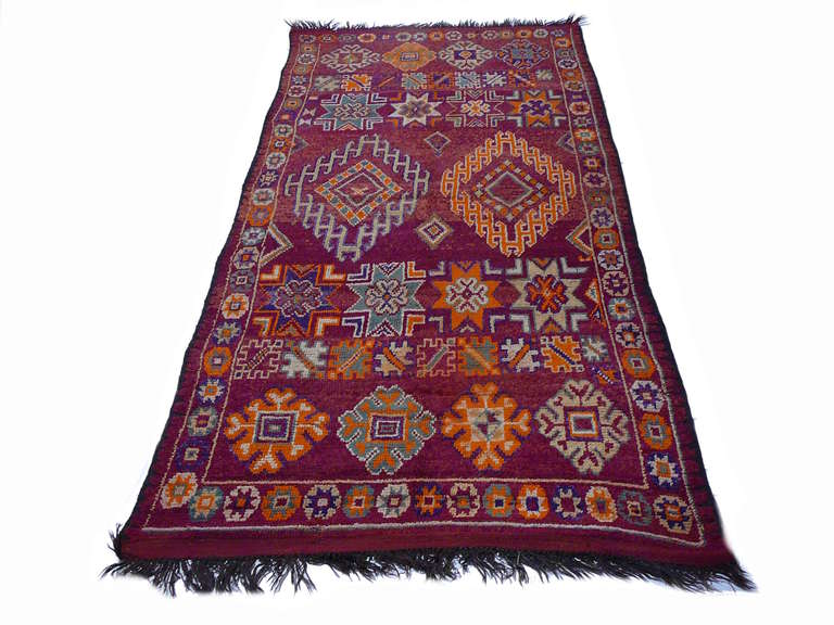 Moroccan North African Vintage Berber Rug For Sale At