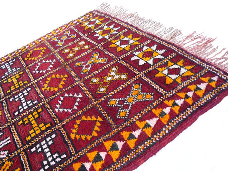 Hand-Knotted Vintage moroccan Berber rug For Sale