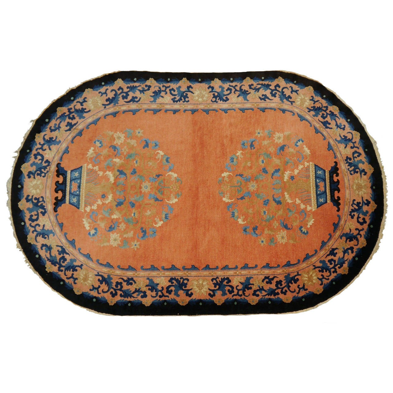 Rare Antique Oval Chinese Art Deco Rug For Sale At 1stdibs