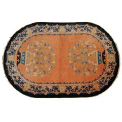 Rare Antique Oval Chinese Art Deco Rug