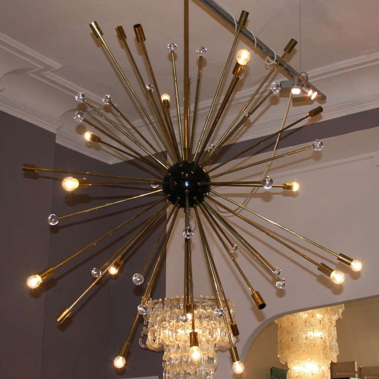Large Sputnik chandelier Italy 1960u0027s. Fabulous Chandelier with some 40 long brass arms on & Large Sputnik Chandelier. Italy 1960u0027s at 1stdibs