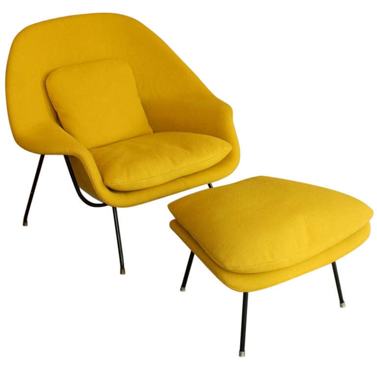 very early saarinen womb chair and ottoman knoll at 1stdibs