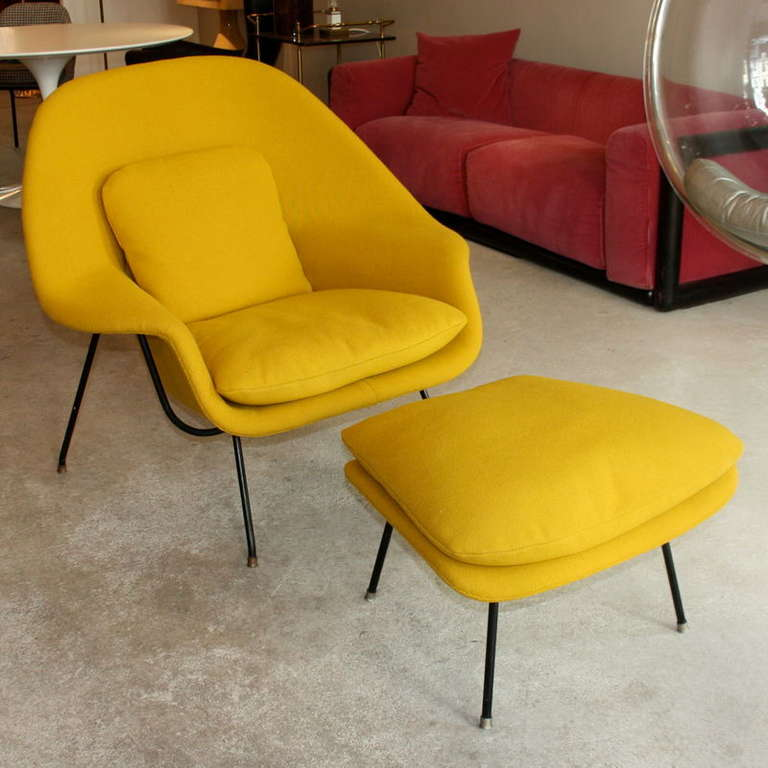 A Very Early Example Of The Original Womb Chair And Ottoman By Eero  Saarinen, Designed