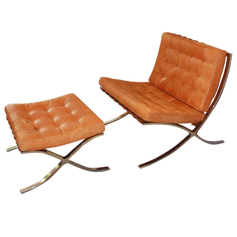 Van Der Rohe Barcelona Chair barcelona chair and foot stool, mies van der rohe at 1stdibs