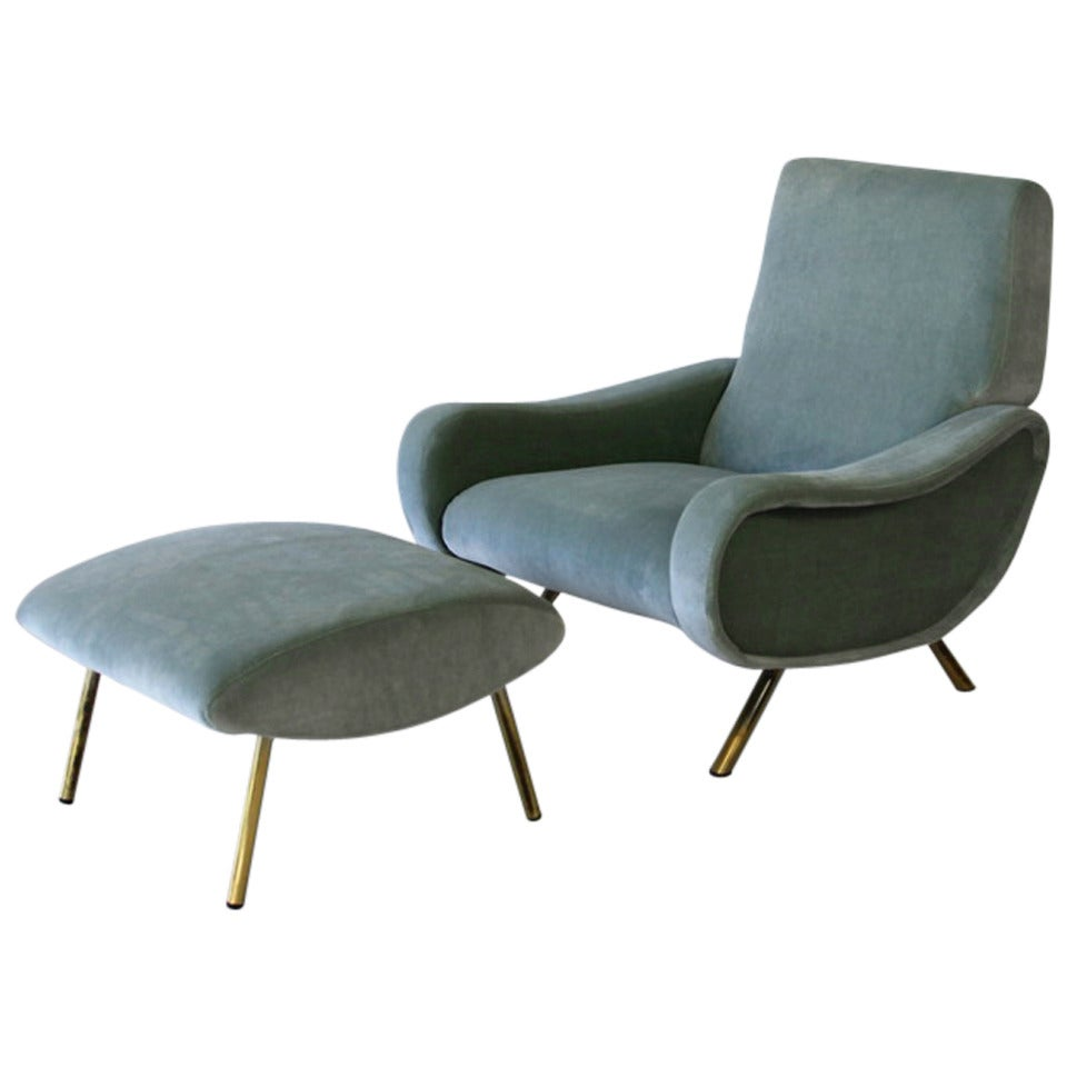Lady chair and foot stool by marco zanuso original for Chair and footstool