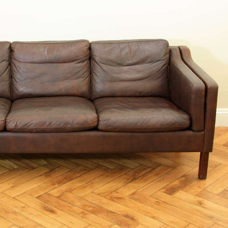 Famechon Sofa With Channeled Back And Seat Walnut Legs: Leather Sofa, Three-Seater, Denmark At 1stdibs