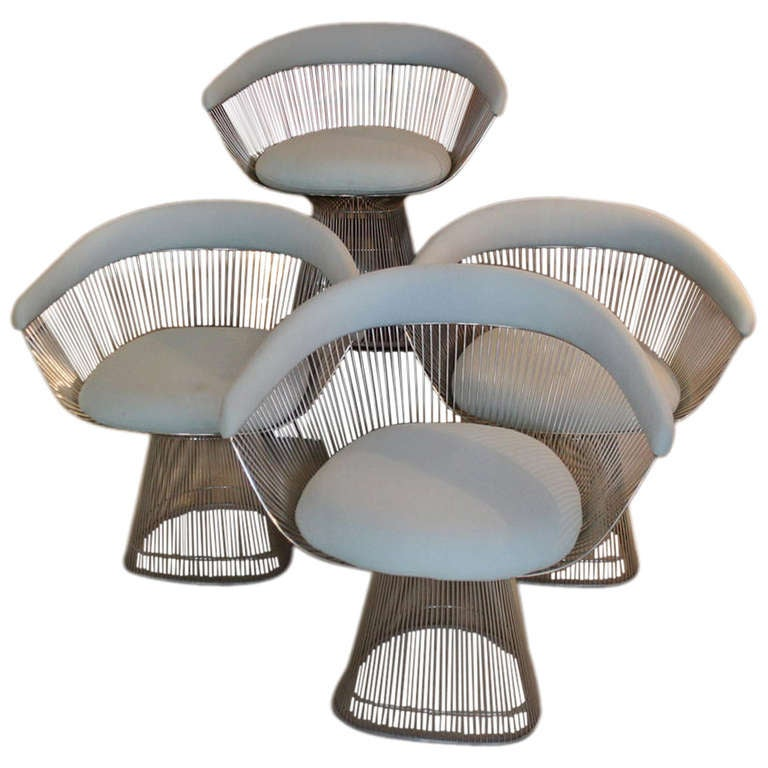 set of 4 warren platner wire chairs knoll international at 1stdibs