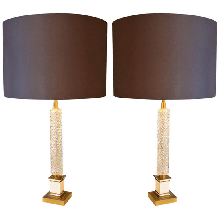Pair of French Glass Table Lamps, 1960s