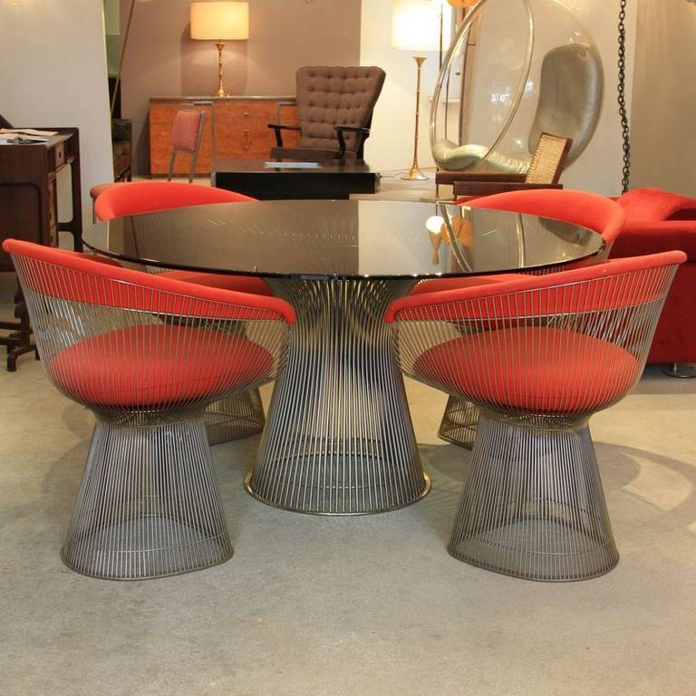 platner furniture. Chrome Wire Frame Table With Green Glass Top (135 Cm) And A Set Of Platner Furniture