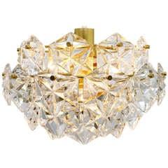 Kinkeldey Crystal Glass Chandelier Gold Plated, 1960s