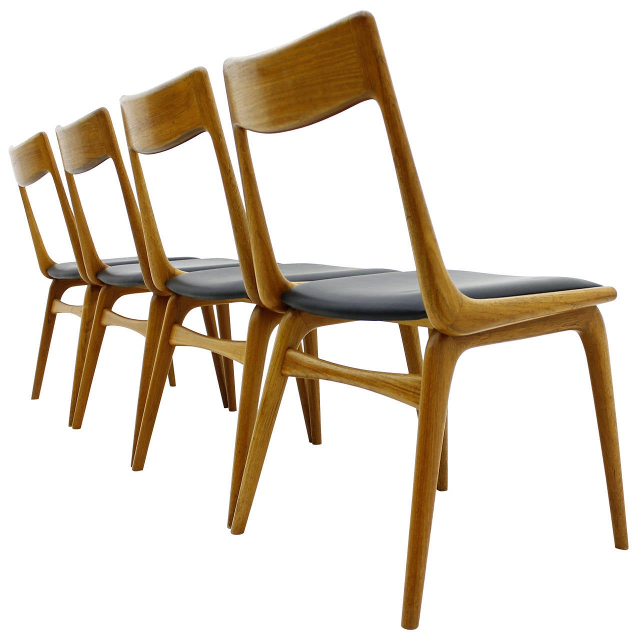 Wonderful Erik Christensen Boomerang Dining Chairs, Teak And Leather, Denmark, 1950s 1