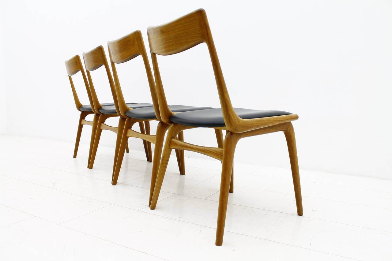 Captivating Erik Christensen Boomerang Dining Chairs, Teak And Leather, Denmark, 1950s 2