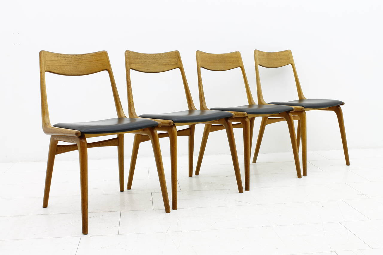 Erik Christensen Boomerang Dining Chairs Teak And Leather Denmark 1950s At 1stdibs