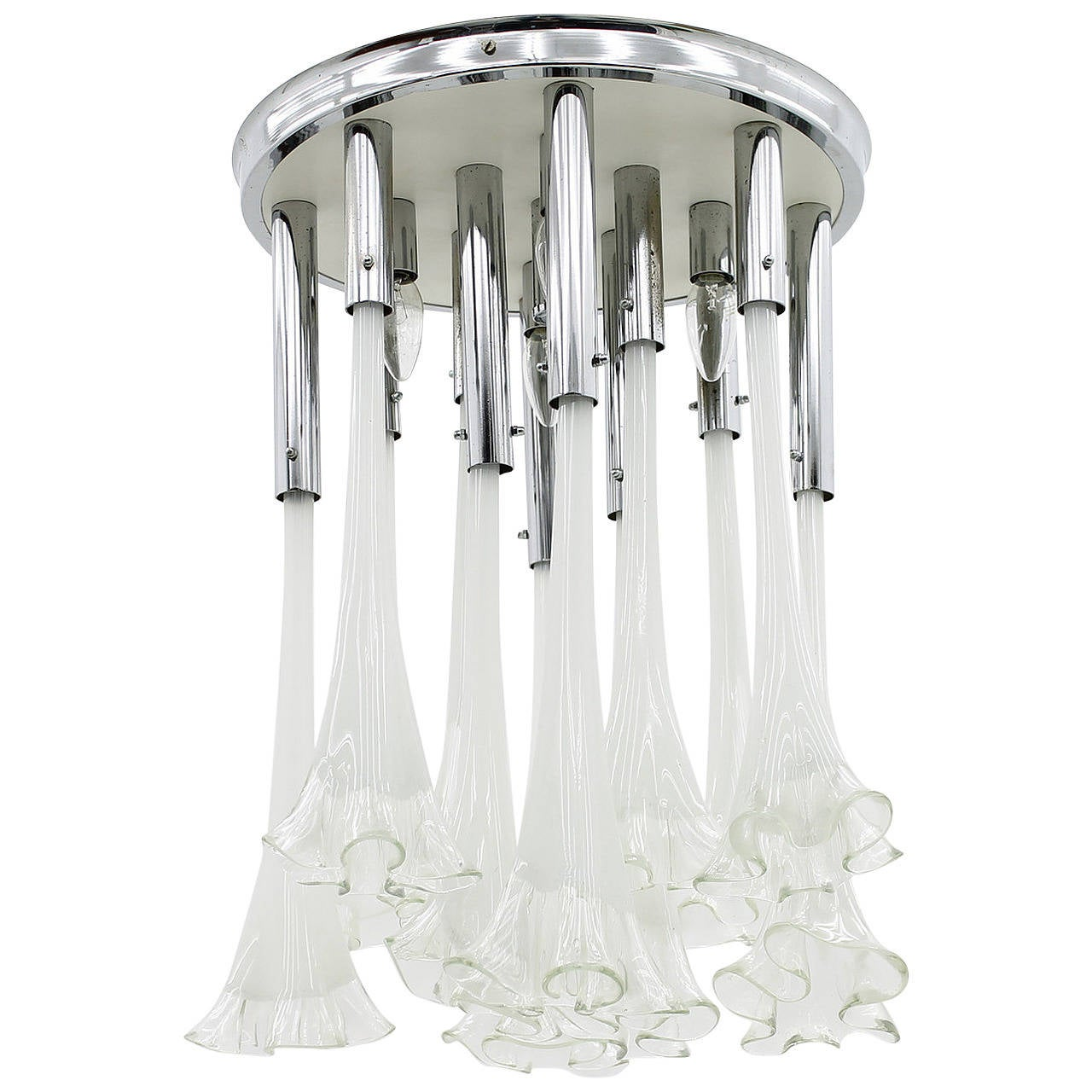 Venini Murano Glass Flush Mount Chandelier, Italy, circa 1970s