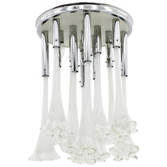 Venini Murano Glass Flush Mount Chandelier, Italy circa 1970s