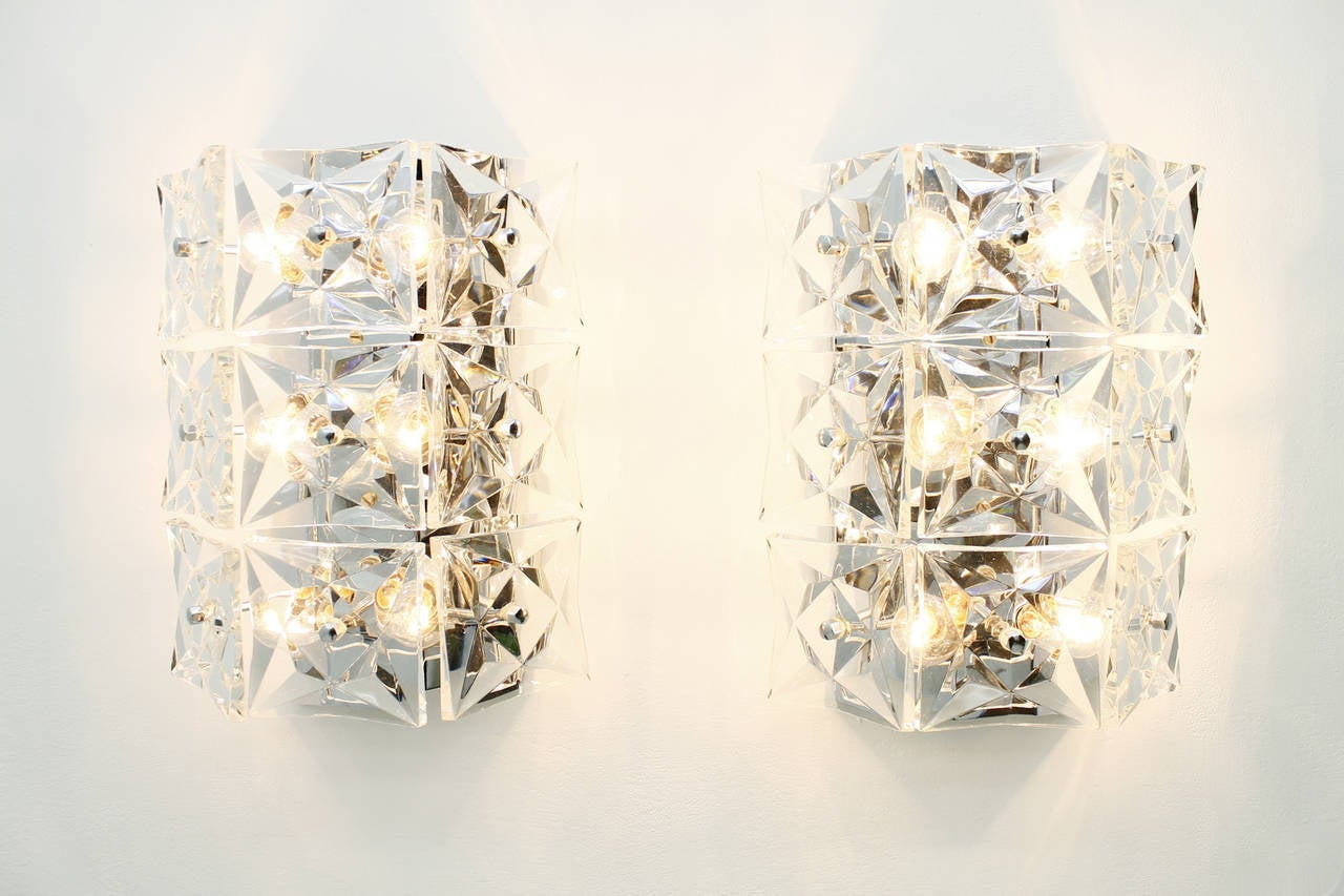 Large Crystal Wall Sconces : Pair of Large Crystal Glass Wall Sconces by Kinkeldey, circa 1960s For Sale at 1stdibs