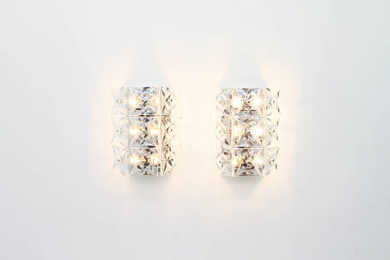 Pair of Large Crystal Glass Wall Sconces by Kinkeldey, circa 1960s For Sale at 1stdibs