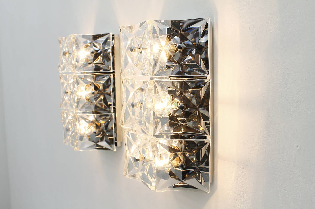 Tall Glass Wall Sconces : Pair of Large Crystal Glass Wall Sconces by Kinkeldey, circa 1960s For Sale at 1stdibs