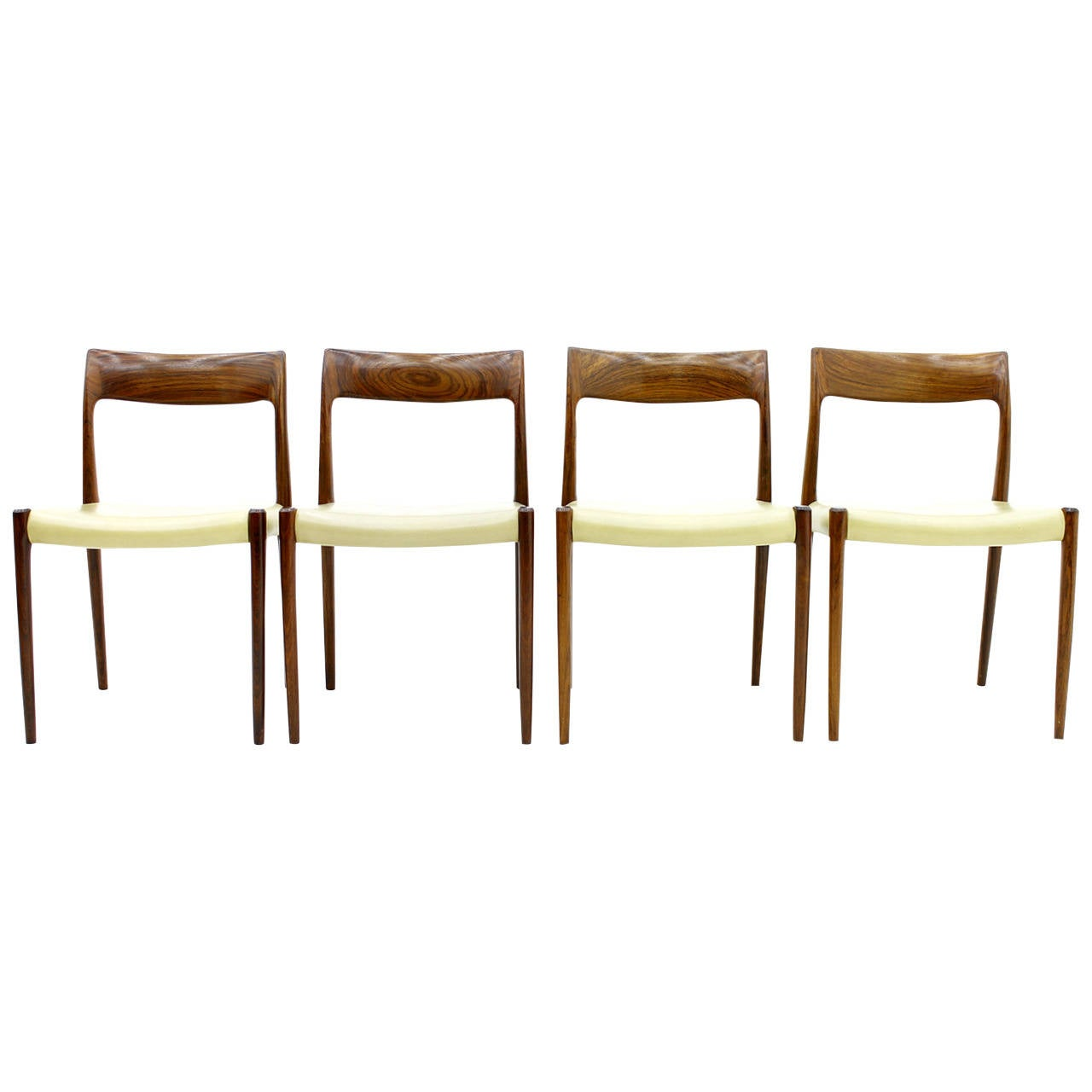 Four Rosewood And Leather Dining Room Chairs By Niels O