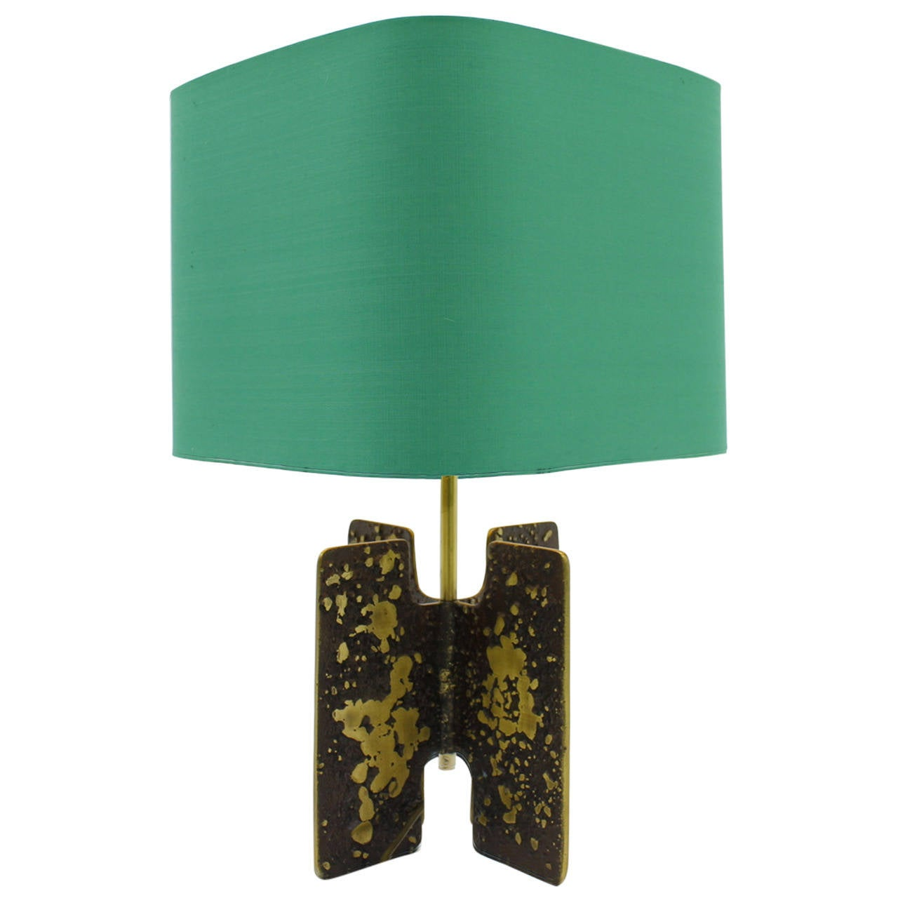 Brutalist Table Lamp in Brass, circa 1960s