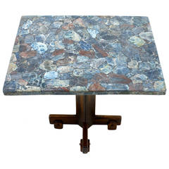 Rare Sergio Rodrigues Side Table with Stone Mosaic Tabletop, Brazil, 1964