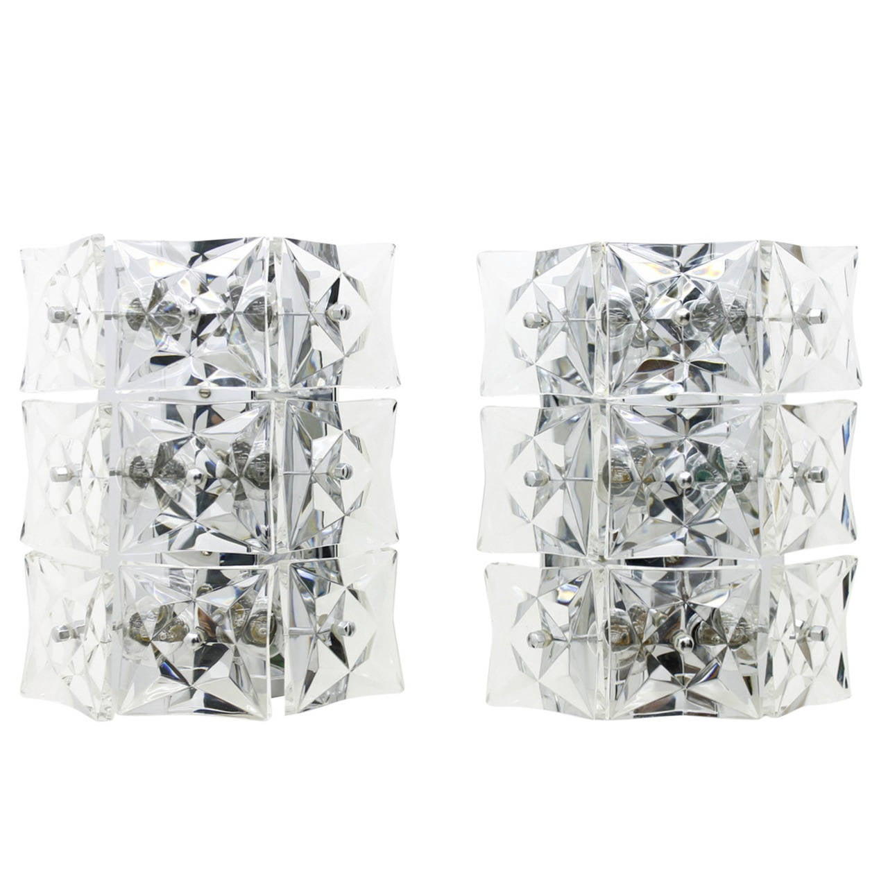 Pair of Large Crystal Glass Wall Sconces by Kinkeldey, circa 1960s