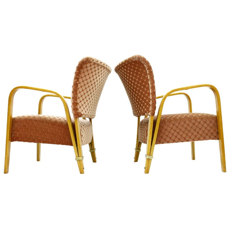 Pair Hugues Steiner Bow Wood Lounge Chairs, France 1948