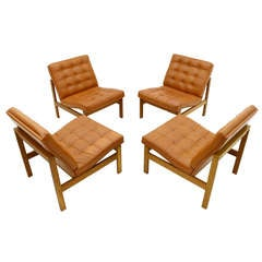 Set of Four Danish Leather and Teak Lounge Chairs by Torben Lind & Ole Gjerlov