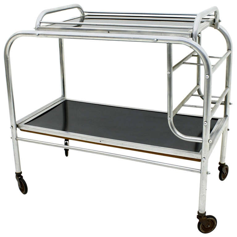 Art Deco Aluminium Cart Table with Tray, France, circa 1930s