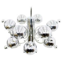 Italian Chrome Sputnik Chandelier, 1960`s