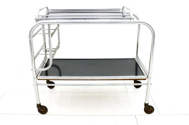 French Art Deco Aluminium Cart Table with Tray, France, circa 1930s For Sale