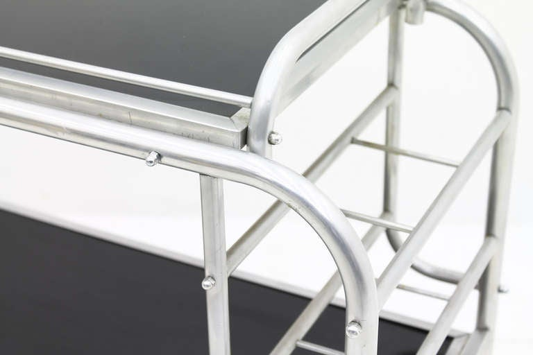 Mid-20th Century Art Deco Aluminium Cart Table with Tray, France, circa 1930s For Sale