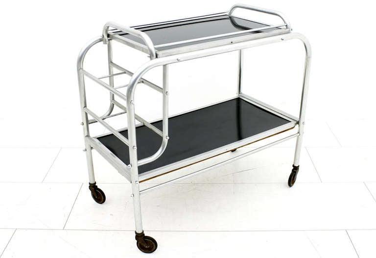 Aluminum Art Deco Aluminium Cart Table with Tray, France, circa 1930s For Sale