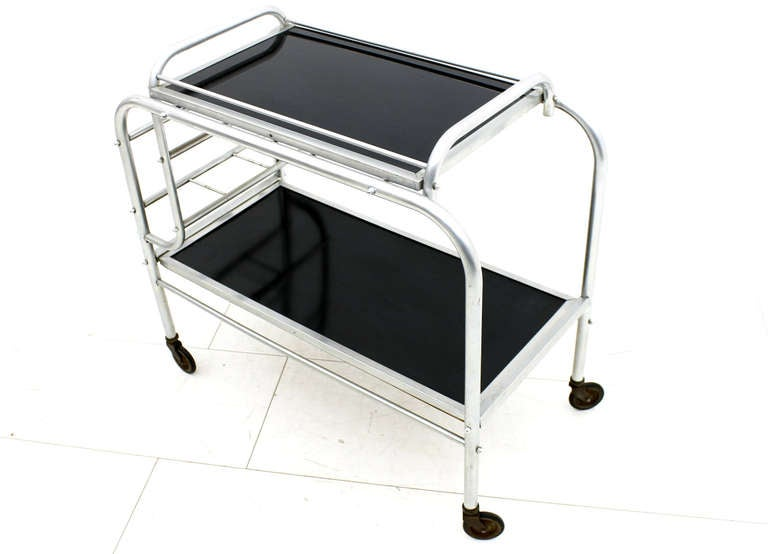 Art Deco Aluminium Cart Table with Tray, France, circa 1930s For Sale 2
