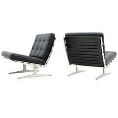 Pair of Lounge Chairs Aluminum and Leather by Paul Leidersdorff, Denmark, 1965