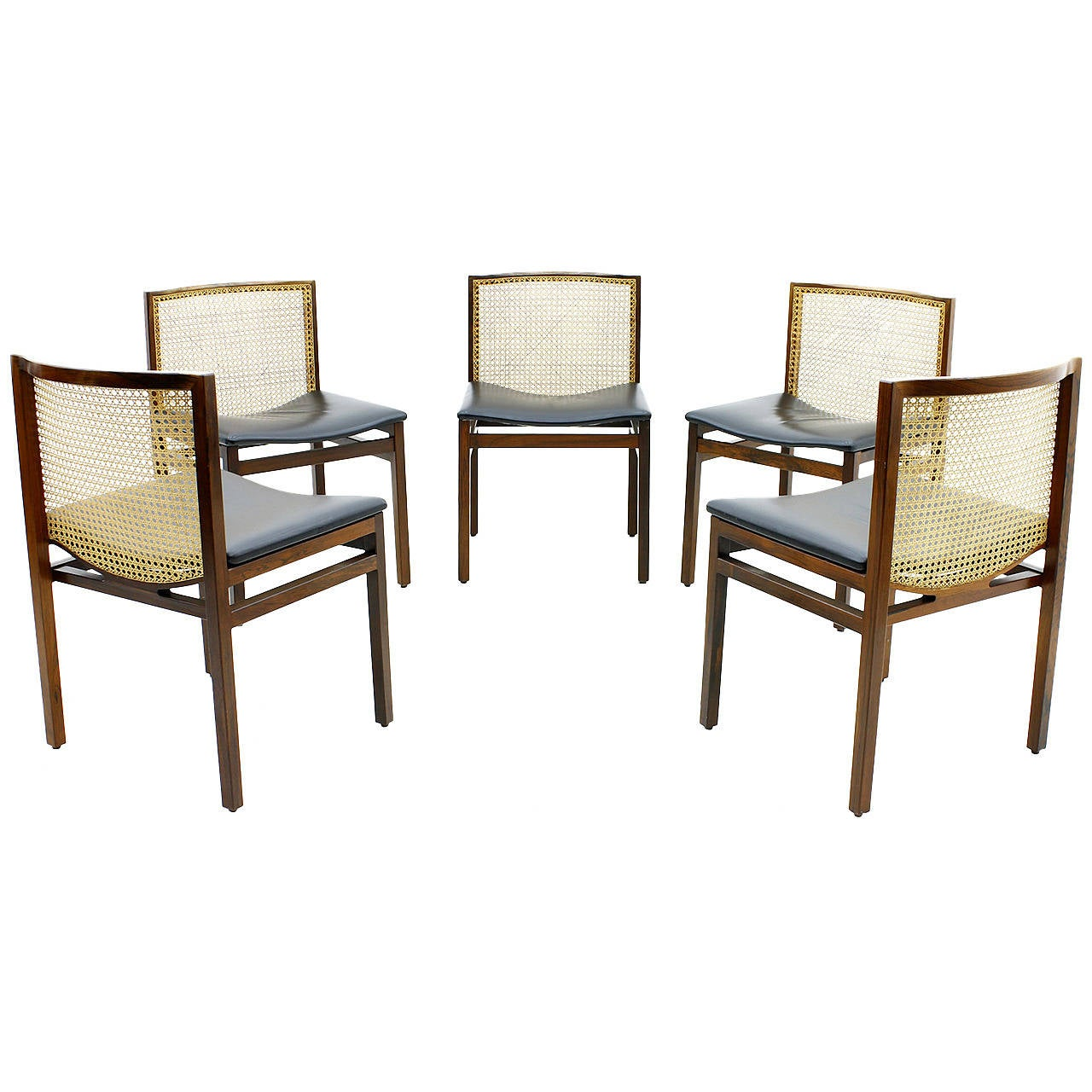 Danish Dining Chair set of five scandinavian dining chairs, rosewood, cane and leather