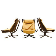 Set of Three Falcon High Back Lounge Chairs by Sigurd Resell, Norway 1971