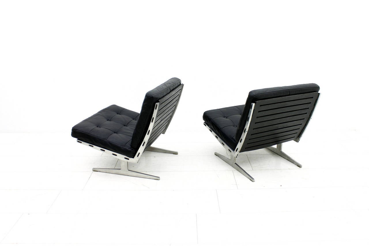 Pair of Lounge Chairs Aluminum and Leather by Paul Leidersdorff Denmark 1965 For Sale at 1stdibs